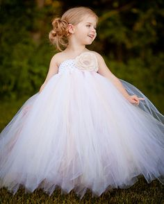 Vintage Daydream Flower Girl Tutu Dress with Handmade Rose Girls Tutu Dresses, Tutus For Girls, Wedding Bride, Wedding Gowns, Dream Wedding, Cinderella Wedding, Fall Wedding, Flower Girl Tutu, Flower Girl Dresses