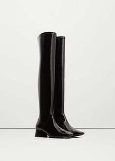 Over-the-knee patent finish boots | MANGO
