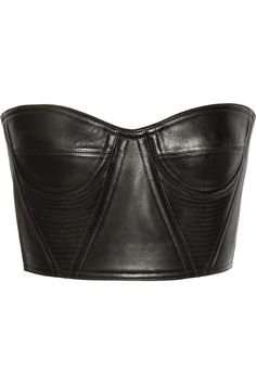 Balmain | Cropped underwired leather bustier | NET-A-PORTER.COM to wear under or over things... Get creative!
