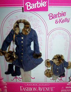 Barbie & Kelly Fashion Avenue Matchin' Styles Jeans Coat Leopard Fur 1996 #17292
