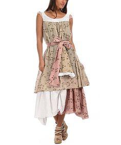 Loving this Beige & White Layered Sleeveless Dress on #zulily! #zulilyfinds