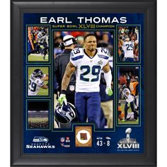 """Earl Thomas Seattle Seahawks Super Bowl XLVIII Champions Framed 15"""" x 17"""" Collage with Game-Used Ball"""