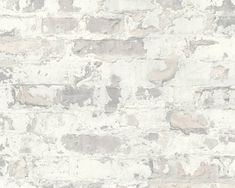 Sample Melinda Cottage Brick Wallpaper in Grey and White by BD Wall