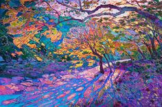 Maple Color - Erin Hanson Prints - Buy Contemporary Impressionism Fine Art Prints Artist Direct from The Erin Hanson Gallery Art Aquarelle, Art Watercolor, Large Painting, Oil Painting Abstract, Gouache Painting, Dynamic Painting, Forest Painting, Abstract Landscape, Landscape Paintings