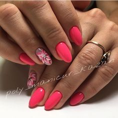 Beautiful summer nails, Bright summer nails, flower nail art, Gel polish on the nails oval, Oval nails, Pink dress nails, Summer nail art, Vacation nails