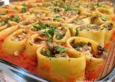 Muszle nadziewane mięsem mielonym - Obżarciuch Macaroni And Cheese, Pasta Salad, Meat, Chicken, Ethnic Recipes, Food, Crab Pasta Salad, Mac And Cheese, Essen