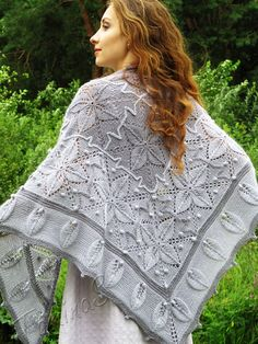"Knit shawl ""Winter garden"" (knitted shawl, handmade wrap, knitting wool shawl, knit patchwork)"