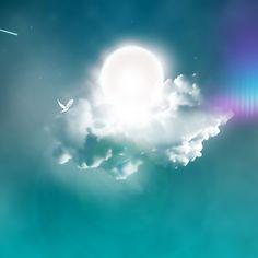 2048x2048 Papel de Parede nuvens, pomba, sol