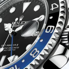 Fresh from the booth on the first official day of Basel World you're looking at in the metal photos of the brand new Rolex GMT-Master II with blue and black Cerachrom bezel. Click through for more live photos (including wrist sho Rolex Gmt Master, Rolex Oyster Perpetual, Rolex Batman, Gmt Batman, Watches Photography, New Rolex, Rolex Submariner, Beautiful Watches, Elegant Watches
