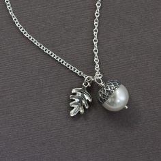 "Silver Jewelry - ""Autumn"" - Oak Leaf & Acorn Necklace - Perfect Seasonal Gift, Birthday, Anniversary Gift (WN22)"