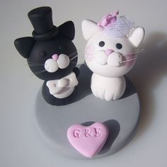 cat bride and groom wedding cake models topper