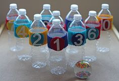 recycled crafts -Let's Bowl, Make a Bowling Pin Set from Recycled Plastic Water Bottles, Kids Crafts, Recycled Crafts Kids, Diy And Crafts Sewing, Glue Crafts, Crafts To Make, Easy Crafts, Creative Crafts, Preschool Crafts, Water Bottle Crafts