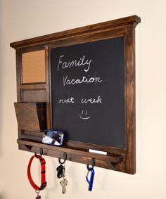 Chalkboard & corkboard Mail Organizer letter holder  Key / Coat / Hat rack - RusTic - Home Decor. $155.00, via Etsy.