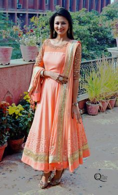#Gorgeous Peachy asymmetrical #Anarkali by http://MadSamTinZin.com/ ShahpurJat, South Delhi https://www.facebook.com/madsamtinzin