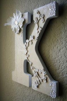 Wooden Wedding Initial Monogram Bridal Letters. $30.00, via Etsy.