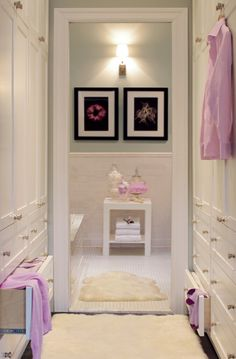 Love the soft blue with pink accents and dark artwork! Dressing room leading into bathroom by Graham Moss ~ House Chic