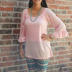 One Faith Boutique - Pink Scoop Neck Ruffle Sleeve Top, $19.99 (http://www.onefaithboutique.com/tops/pink-scoop-neck-ruffle-sleeve-top/)