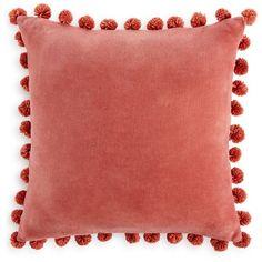 Home Design Studio Pom Pom Pillow, ($22) ❤ liked on Polyvore featuring home, home decor, throw pillows, decor, interior, pillows, coral, coral accent pillows, eclectic home decor and coral throw pillows