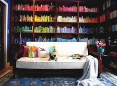How to bring colour to your bookcases !   Love it !