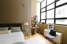 Love the patterned accent wall kept calm with tonal colors, Jonathan's Calm and Considered Nest