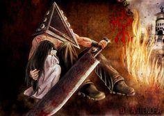 Pyramid Head and Alessa \ Silent Hill