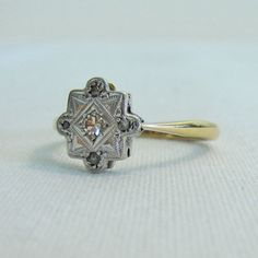 Dazzling Diamond Ring Gold and Platinum Scalloped Diamond by Addy,