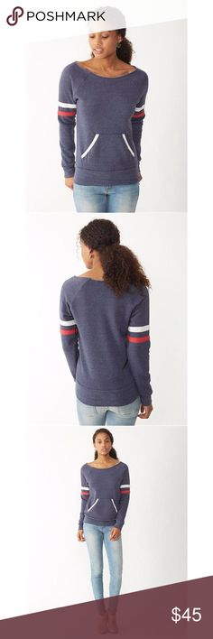 Maniac Sport Sweatshirt A sportier version of the classic maniac, this eco-fleece sweatshirt has the same raw-edge, off-the-shoulder neckline and kangaroo-style front pocket, but features constrasting stripes on the sleeves.   Fabrication: 50% polyester/46% cotton/4% rayon Color: Eco True Navy Machine wash and tumble dry Imported Alternative Apparel Tops Sweatshirts & Hoodies