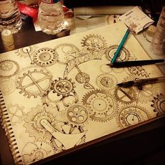 Steampunk scetch--- Such symmetrical. I would not have the patience for this Steampunk Drawing, Steampunk Kunst, Steampunk Gears, Drawing Sketches, Art Drawings, Gear Drawing, Drawn Art, Kunst Poster, Desenho Tattoo
