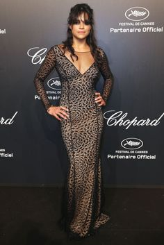 Michelle Rodriguez at the Soiree Chopard Gold Party on May 18, 2015.