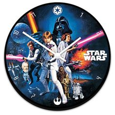 This Star Wars Wall clock features artwork from the first movie in the epic series. Relive the first adventure of Luke, Leia and Han Solo. This great clock is a must have for any Star Wars collection.