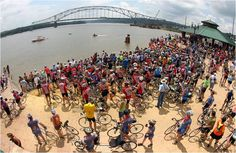 RAGBRAI - Some 20,000 riders make the annual 500-mile bike ride across Iowa....they dip their tires in the Missouri River at the start and in the Mississippi River at the end.