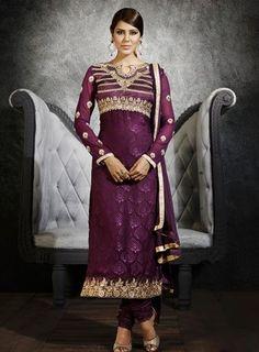 #Wine Brasso #Chudidar #Suit  On brasso fabric with santoon inner and bottom and chiffon dupatta.