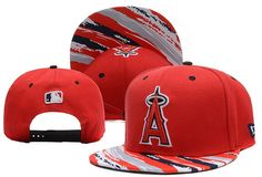MLB Los Angeles Angels Red Snapback Caps Hats Brim Colorful Stripes
