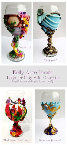 Hand made Disney inspired polymer clay wine glasses [By: Kelly Arce] -I love these! Deco Disney, Disney Diy, Disney Crafts, Disney Cups, Polymer Clay Projects, Polymer Clay Creations, Diy Fimo, Diy And Crafts, Arts And Crafts
