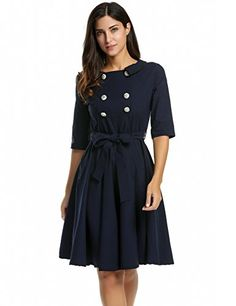ANGVNS Women's Vintage 1950s 3/4 Sleeve Black Fit and Fla...