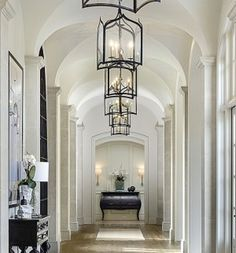 Kim Kardashian and Kanye West's House Dream homes, luxury mansions, celebrity homes, ultimate kitchen and bathroom ideas on your computer, IOS and Android Casas California, California Homes, Long Hallway, Entry Hallway, White Hallway, Grand Entryway, Upstairs Hallway, Grand Entrance, White Walls
