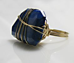 Lapis Large Stone Wrap Ring Nice easy way to wrap a whoppin' big stone.