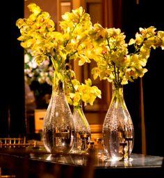 Yellow gold orchid arrangements