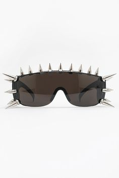 'Liberty' Extreme Spike Shield Sunglasses - Black/Silver - 1259-1