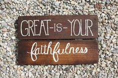 Great is Your Faithfulness Handpainted Wooden Sign by KicksCrafts