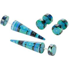 Hot Topic Acrylic Green & Blue Geometric Faux Taper & Plug 4 Pack ($11) ❤ liked on Polyvore featuring jewelry, earrings, green, taper earrings, lucite jewelry, acrylic earrings, blue jewelry and fake earrings
