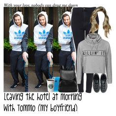 """""""Leaving the hotel at morning with Tommo (my boyfriend)"""" by jaynnelinsstyles ❤ liked on Polyvore featuring Topshop, Ally Fashion, adidas, OneDirection, imagine, 1d, louistomlinson and Directioners"""