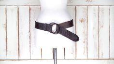 Wide dark brown woven leather vintage cinch belt/braided leather hip statement boho belt/gypsy festival belt by GreenCanyonTradingCo on Etsy