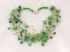 Green beaded wedding airy crocheted necklace. by SalixCinerea