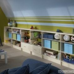 Easy attic storage. Attach white bookshelves to wall. For drawers, take out shelf and install a metal pull-out basket.