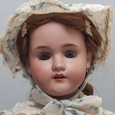 Antique German Kley Hahn Walküre Doll Head is Marked: 250 - KH - Walküre - 5-1/4 - Germany. Beautiful Antique Bisque Doll! White Cotton Dress with Blue Flower Wreath Design & Lace Trim. Blue Sleepy Eyes with Real Eyelashes. | eBay!
