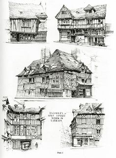 "A plate from Samuel Chamberlain's book ""Domestic Architecture in Rural France"" published in 1928. This plate shouws examples of Half timbered buildings in Lisieux"