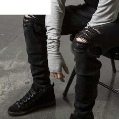 91e389d5191dc HZIJUE New Black Ripped Jeans Men With Holes Super Skinny Famous Designer  Brand Slim Fit Destroyed Torn Jean Pants For Male