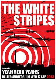 The WHITE STRIPES - Keller Auditorium Portland OR, 17 September 2003 - artistic concert poster