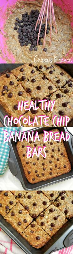 HEALTHY CHOCOLATE CHIP BANANA BREAD BARS- Like all banana bread, these Healthy Chocolate Chip Banana Bread Bars taste even better the next day once the flavors in the bread have had some time to settle.